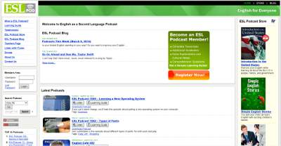 English as a Second Language Podcast web page