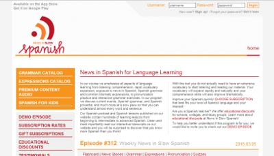 News in slow Spanish web page