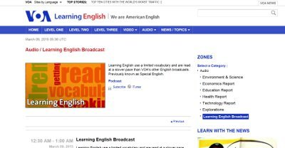 VOA Learn English web page